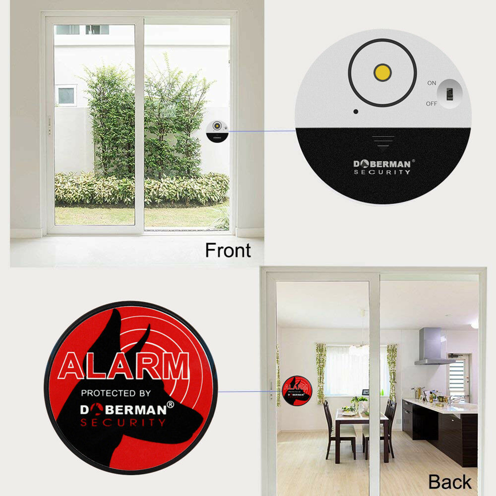100dB Wireless Home Door & Window Alarm Vibration Alert Sensor Battery Operated Entry Burglar Security Sensor Alarm System