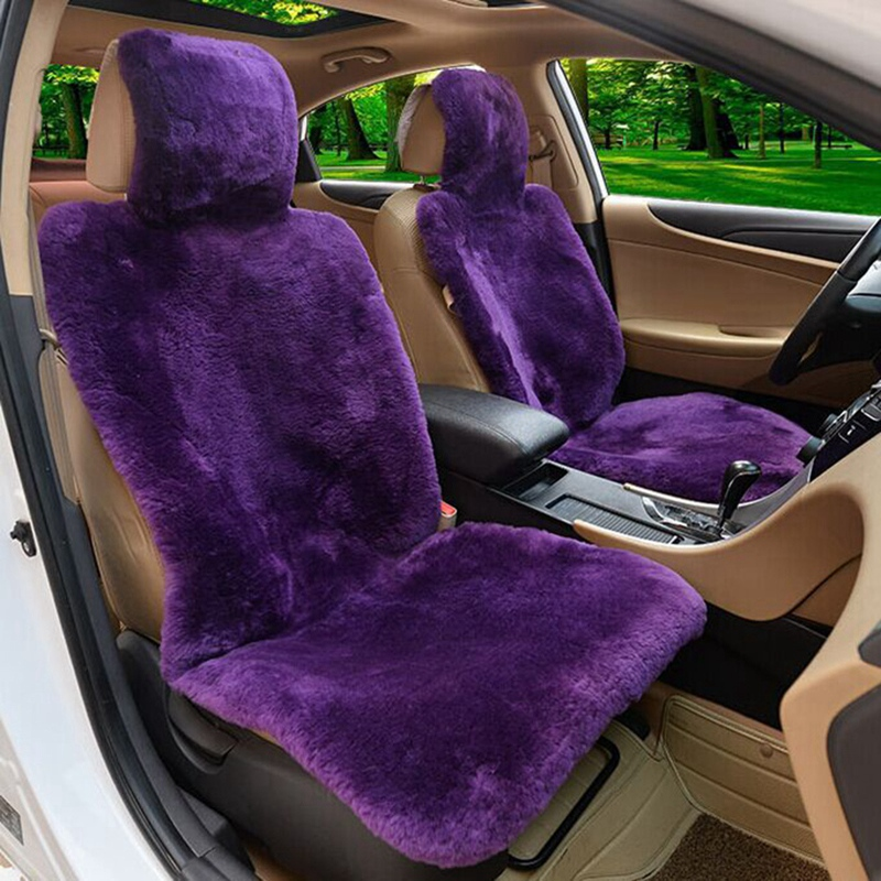NEW-1Pc Real Sheepskin Fur Car Seat Covers One Size Fit Most Purple (Universal Fit).
