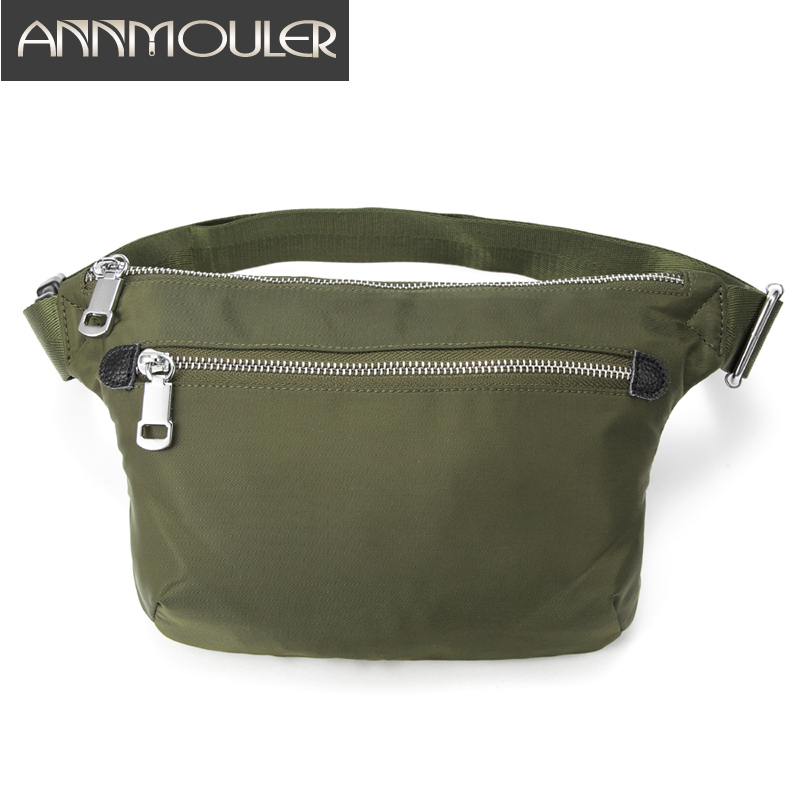 Annmouler Large Women Chest Bag Polyester Waist Bag Pack Black Fanny Pack Double Zipper Phone Pocket Purse Hand-free Bag