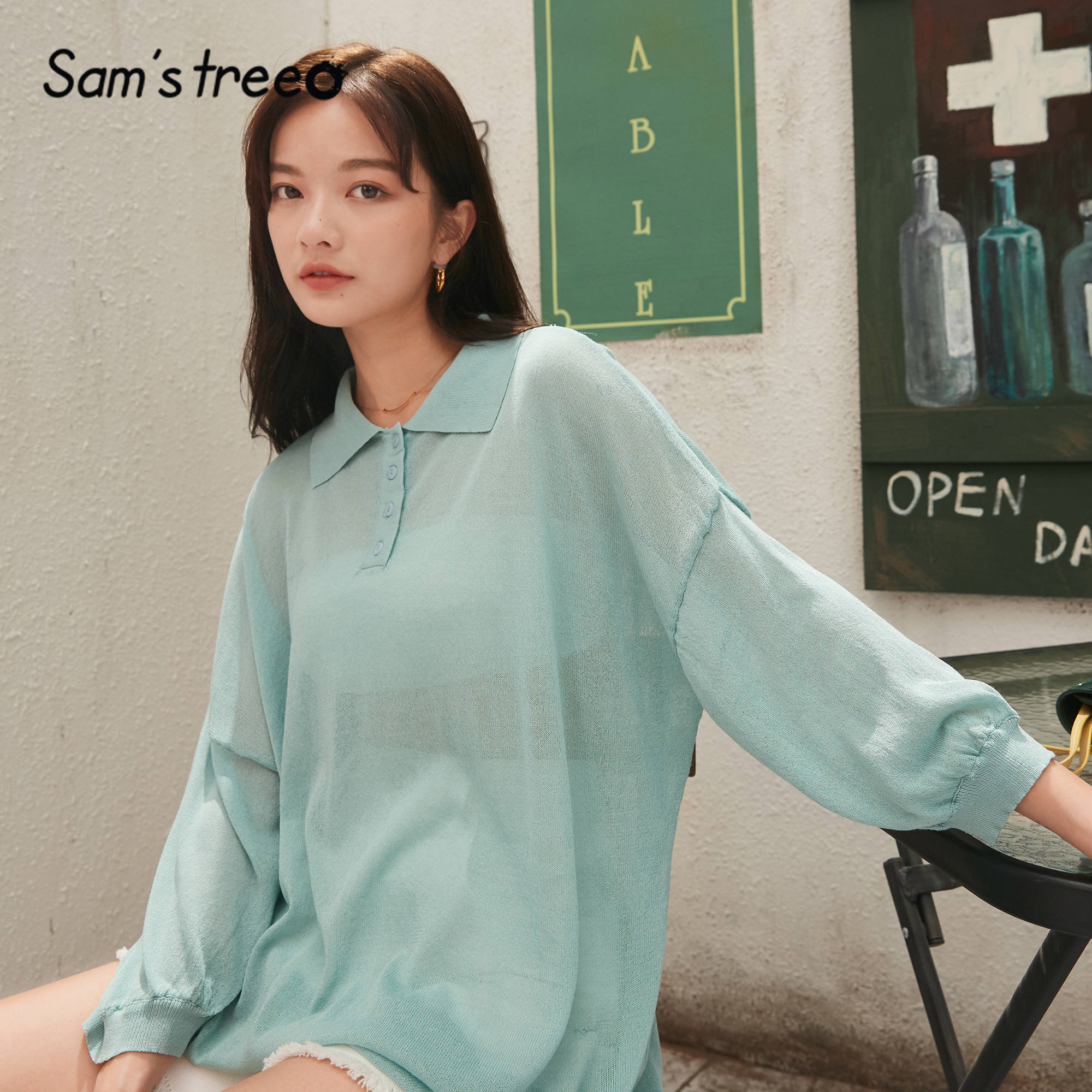 SAM'S TREE Green Solid Jersey Loose Casual Pullover Women Sweaters 2020 Spring Vintage Black Pure Drop Shoulder Sleeve Girly Top