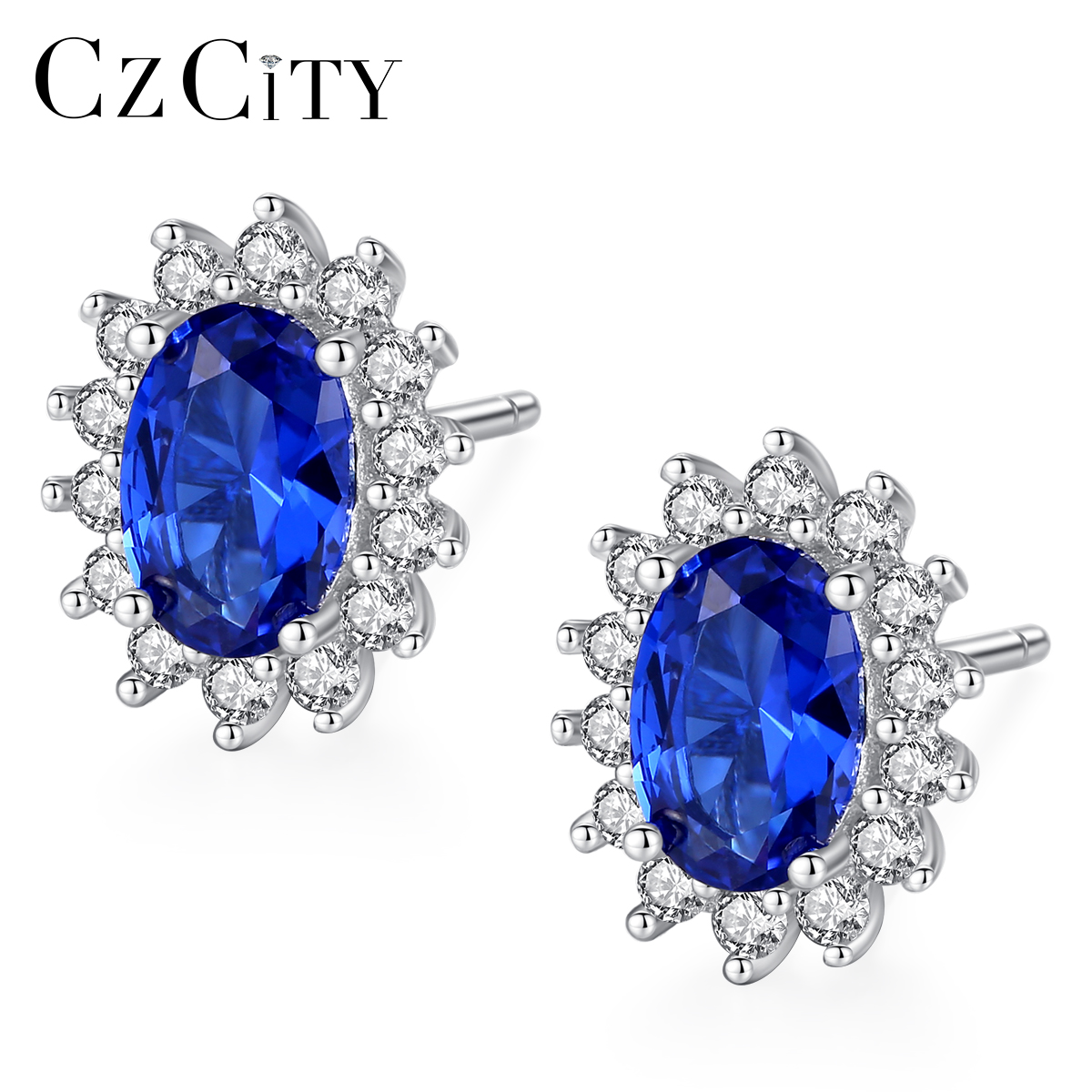 CZCITY New Natural Birthstone Royal Blue Oval Topaz Stud Earrings With Solid 925 Sterling Silver Fine Jewelry For Women Brincos title=