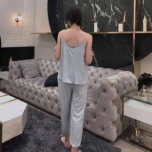Image 5 - Summer Sling Tops with Long Trousers Sexy Home Service Suit Plus Size Sleepwear Pijama Mujer Invierno Stitch Night Suit