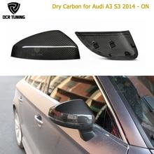 יבש פחמן מראה אמיתית כיסוי לאאודי A3 S3 RS3 2014 2015 2016 עד רכב סטיילינג יבש פחמן צד כובעי 1:1 החלפת סגנון