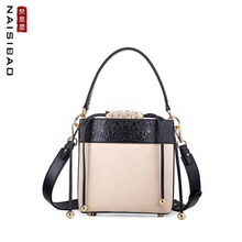 NASIBAO 2019 New top Leather Embossed fashion luxury handbags women bags designer Canvas with leather tote handbag