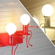 Nordic American Iron Art Wall Lamp White/black/red Bedroom Bedside Lights Aisle Decor Robot Lighting Luminaria