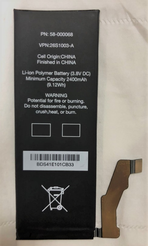 New 2400mAh/9.12Wh 3.8V 58-000068 26S1003-A Replacement High quality Battery For Amazon Fire Phone SD4930UR SD4930 S12-M1-C()
