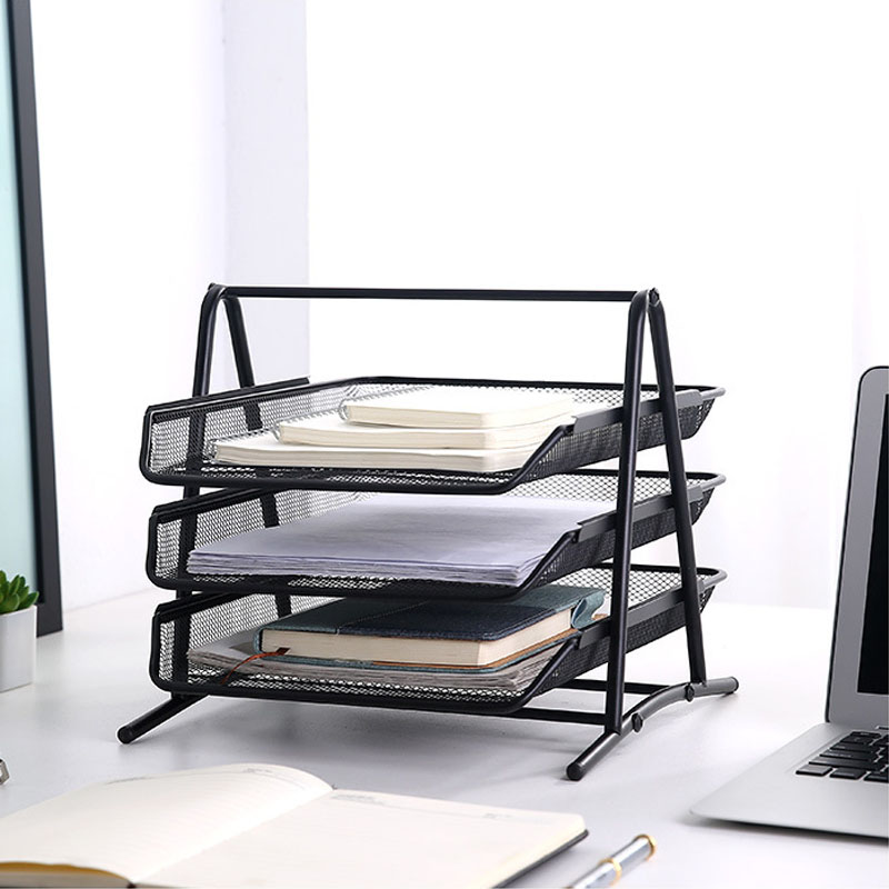 Office A4 Paper Organizer Document File Letter Book Brochure Filling Tray Rack Shelf Carrier Metal Wire Mesh Storage Holder