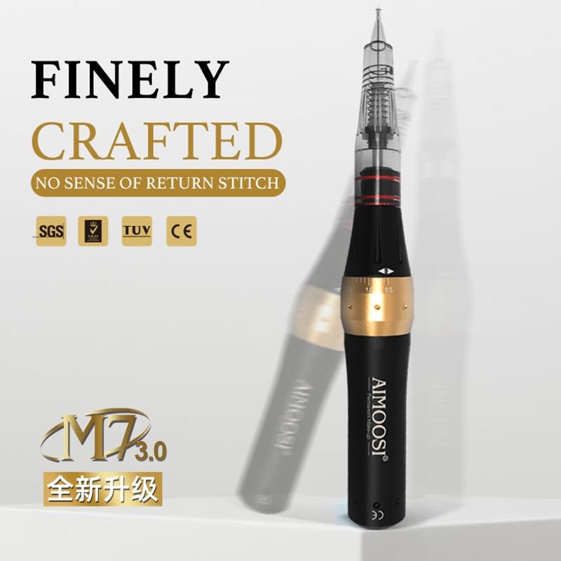 hot Ultra silence Aimoosi M7 digital intelligent Semi Permanent makeup for Eyebrow tattoo machine kit with Gun Cartridge Needle|Tattoo Guns|   -