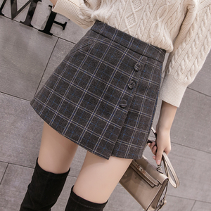 Image 1 - 2020 New Fashion Single breasted Plaid Shorts Skirts Womens Korean Vintage Woolen Shorts Autumn Winter Casual Culottes
