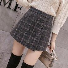 2020 חדש אופנה אחת חזה משובץ מכנסיים קצרים חצאיות נשים קוריאני בציר מכנסי צמר סתיו חורף מקרית מכנסי חצאית