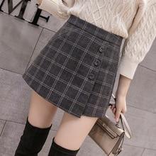Pantalones cortos a cuadros con una hilera de botones para mujer, faldas coreanas Vintage, de lana, informales, para otoño e invierno, novedad de 2020