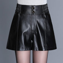 2019 Women Elastic High Waist Loose Casual PU Leather Shorts Office Lady Fashion Streetwear Hip Hop Wide Leg Shorts Plus Size(China)