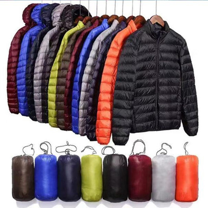 2019 NEW Men Spring Jacket Ultra Light Thin 100% White Duck Down Jackets Casual Portable Spring Coat For Men Down Parkas Size