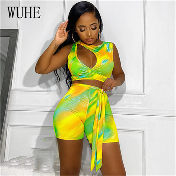 WUHE Two Pieces Set Print Jumpsuit  2 Piece Set Women Summer Sexy Hollow Out Short Playsuits Sleeveless Lace Up Club Rompers wuhe two pieces set sexy lace patchwork jumpsuits women off shoulder sleeveless bodycon bandage romper party short playsuits