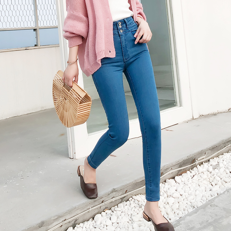 LEIJIJEANS 2019 High Waist Jeans Button Full Length Plus Size Light Blue Jeans For Women Stretch Jeans Skinny Pencil Women Jeans
