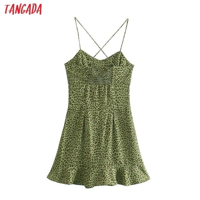Tangada 2021 Fashion Women Leopard Print Strap Dress Sleeveless Backless Female Party Dress 5Z111 6