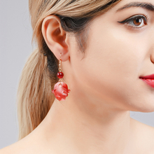Wuli&baby Red Rose Flower Korean Style Drop Earrings Women Fashion Gifts