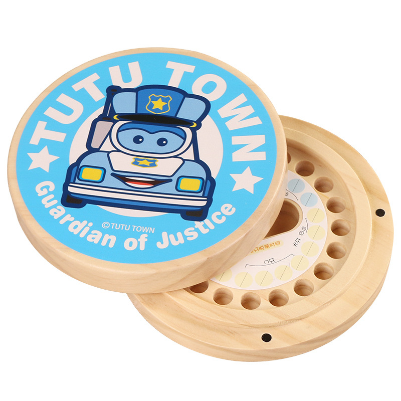 Child baby fetal tooth box wooden souvenir tooth collection box boys birthday gift collection memories