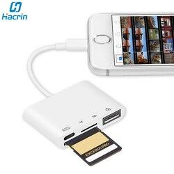 Czytnik kart SD TF dla iphone'a błyskawica do czytnika kart SD Adapter USB OTG zestaw do podłączenia kamery do czytnika kart SD Apple IOS iPad