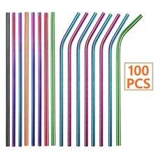 Pailles réutilisables en acier inoxydable 100, lot de 304 pièces, droites et courbées, accessoire de Bar, de fête écologique