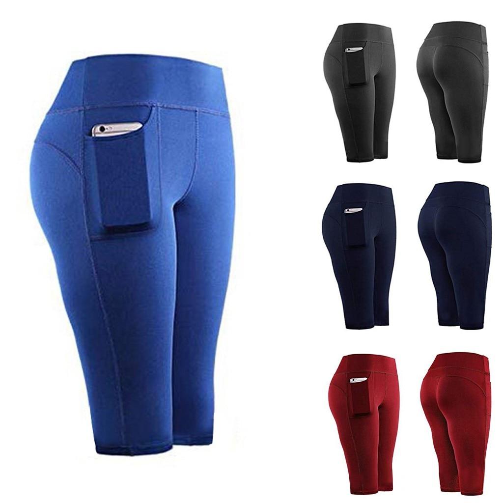Women Sport Leggings Fitness Half High Waist Quick Dry Skinny Bike Pockets Short Leggings Ladies Elastic Casual Leggings #T5P