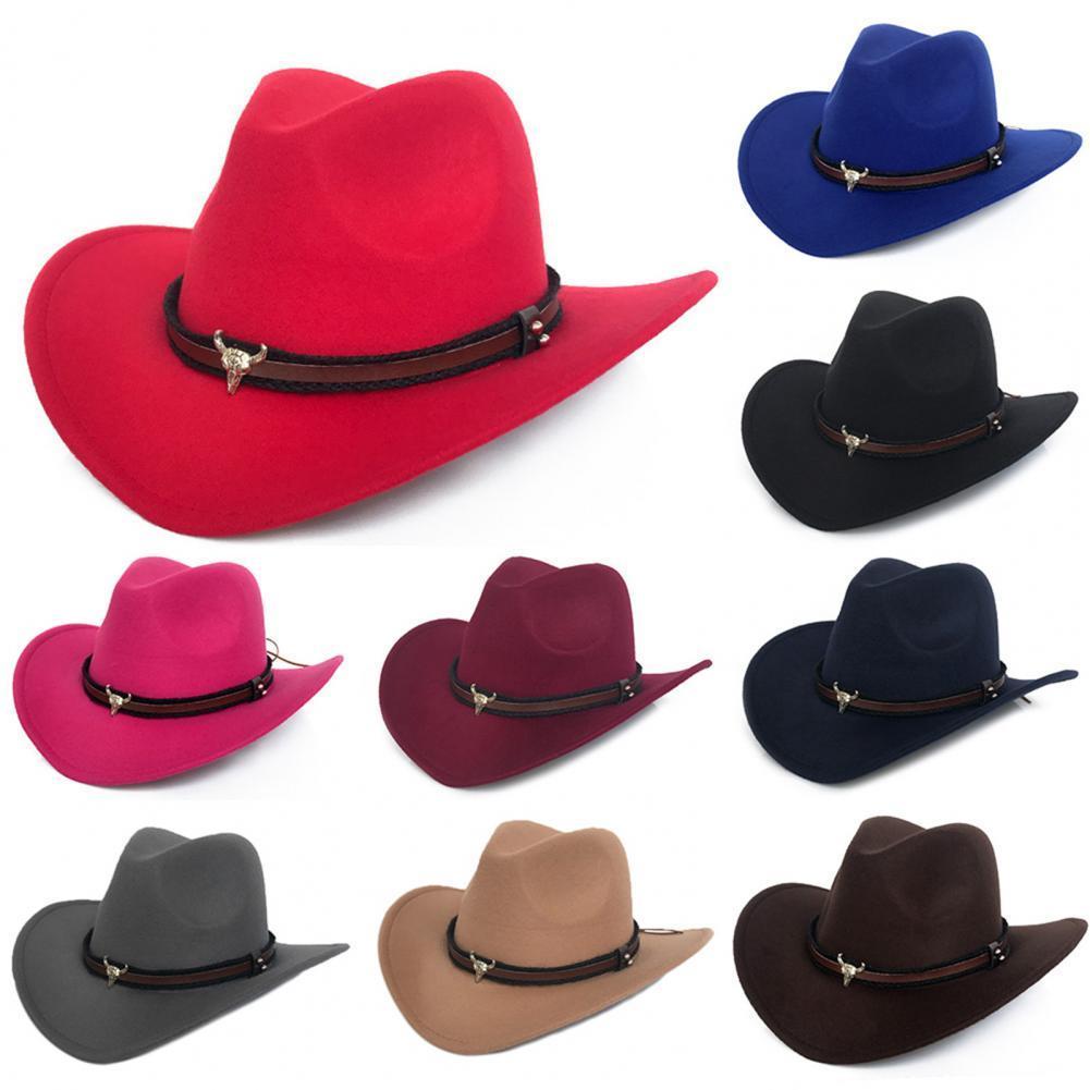1pc Retro Cowboy Hat Men Women Wide Brim Western Cowboy Cowgirl Woolen Hat Sombrero Jazz Cap with Strap sombreros de vaquero