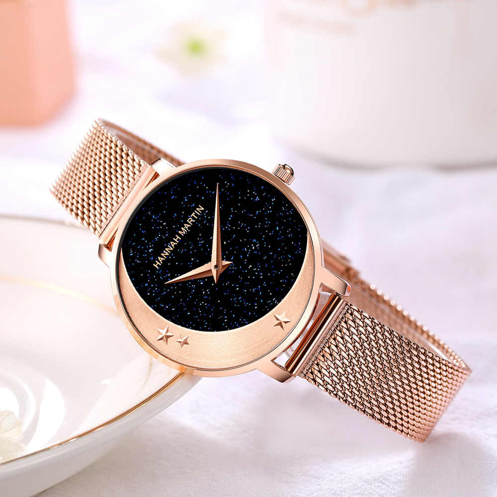 Neue Design Modell Ankunft Japan MIYOTA 2035 Quarz Bewegung Edelstahl Armbanduhr Mond Sterne Nacht Flash-Uhren für Frauen