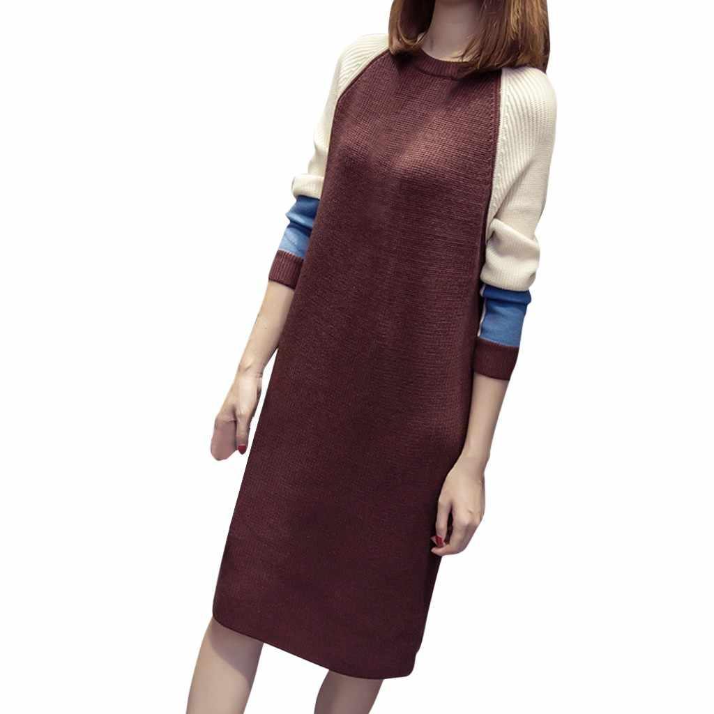Вязаное платье женское осеннее модное корейское стильное свободное лоскутное платье повседневные модные теплые платья с длинными рукавами