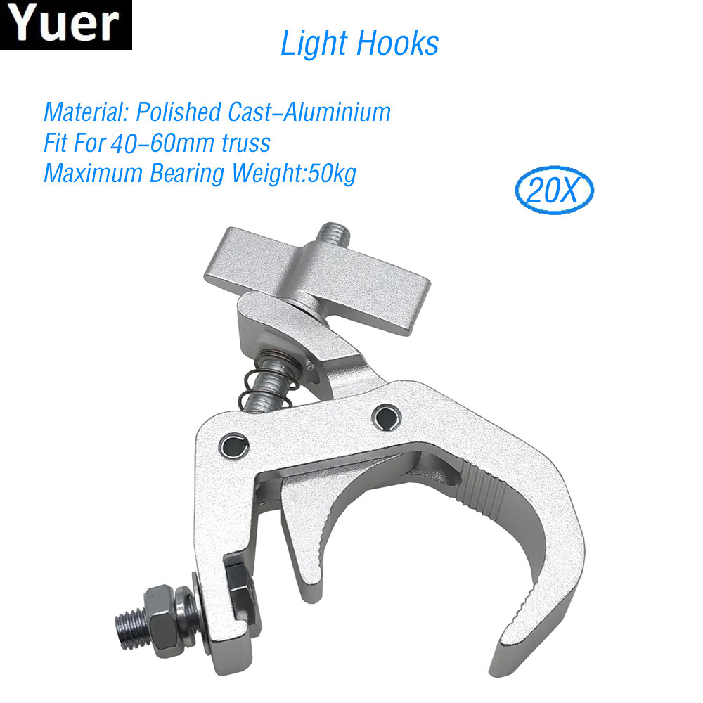 20Pcs/Lot Aluminum Stage Light Hooks Fit For 40-60mm Par Moving Head Stage Light Hook For DJ Disco Bar Light Club Stage Hooks