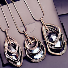 BYSPT Silver Gold Color Rhinestone Long Necklace Vintage Punk Triangle Square Oval Crystal Glass Pendant Necklaces Women Jewelry(China)