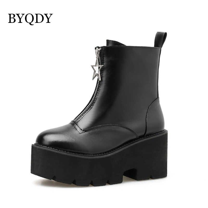 BYQDY kadın kış su geçirmez botlar kovboy ayakkabı motosiklet ayak bileği kama çizmeler Punk sıcak yan fermuar ayakkabı düz siyah toptan