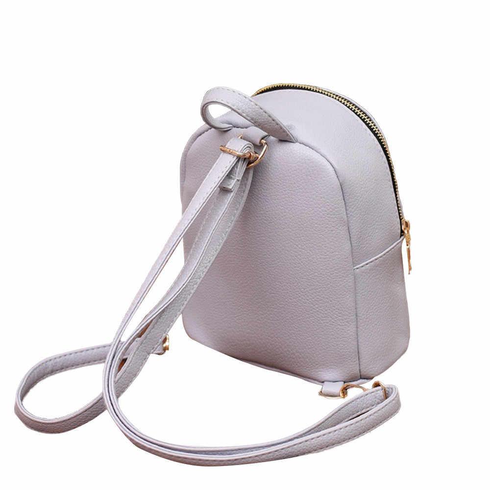 MAIOUMY فتاة صغيرة على ظهره سستة عادية صغيرة المرأة حقيبة جلدية على ظهره حقيبة ظهر مدرسية كلية الكتف حقيبة السفر