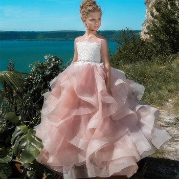Cute Flower Girl Dresses For Wedding Blush Pink First Communion Gowns For Girls Ball Gown Cloud Beaded Pageant Gowns