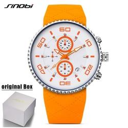 SINOBI Sport Quartz Watch Men Waterproof Stopwatch Silicone Strap Luminous Watches Male Chronograph Clock Reloje Hombre With Box