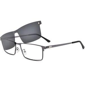 Image 2 - Optik gözlük çerçevesi erkekler kadınlar güneş gözlüğü üzerinde klip polarize manyetik gözlükleri erkek miyopi gözlük tam Metal