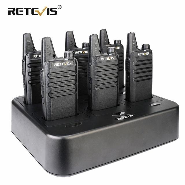 جهاز اتصال لاسلكي صغير مفيد 6 قطعة Retevis RT622 PMR راديو RT22 FRS لاسلكي الاتصال + شاحن بستة اتجاهات مطعم الفندق سوبر ماركت