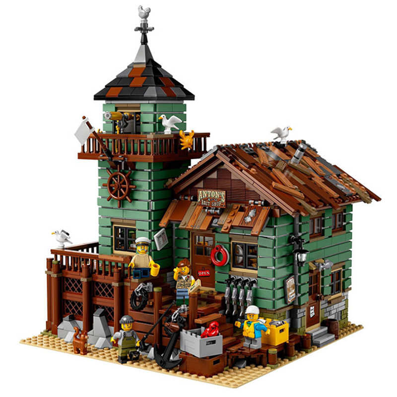Casa de bloques de construcción de pesca, ladrillos DIY, Creator Expert Street View MOC, modelos de juguetes, ladrillos, cabaña para niños, navidad