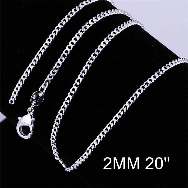 925 Sterling Silver naszyjniki dla kobiet mężczyzn 16/18/20/22/24 cal 2mm łańcuch naszyjnik Collier Choker moda biżuteria hurtowych