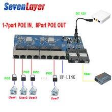 Ters POE anahtarı 8 RJ45 2 SC fiber Gigabit Ethernet anahtarı medya dönüştürücü Fiber Optik UTP Bağlantı Noktası 10/100 1000 M PCBA