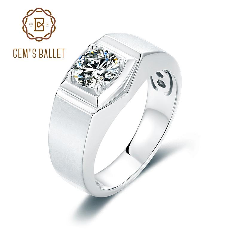 GEM'S BALLLET 1.0Ct D couleur 6.5mm Moissanite diamant hommes bague classique 925 en argent Sterling bague de fête bijoux fête des pères cadeau