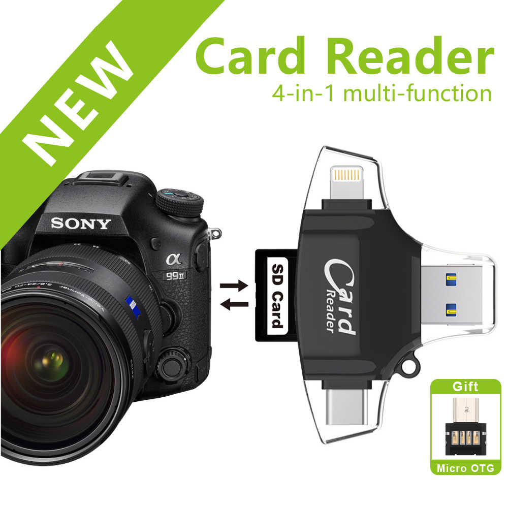 USB 2.0 OTG Flash Drive Lightning Card Reader Micro Sd/SDHC/SDXC SD Tipe-C Cardreader untuk iPhone android