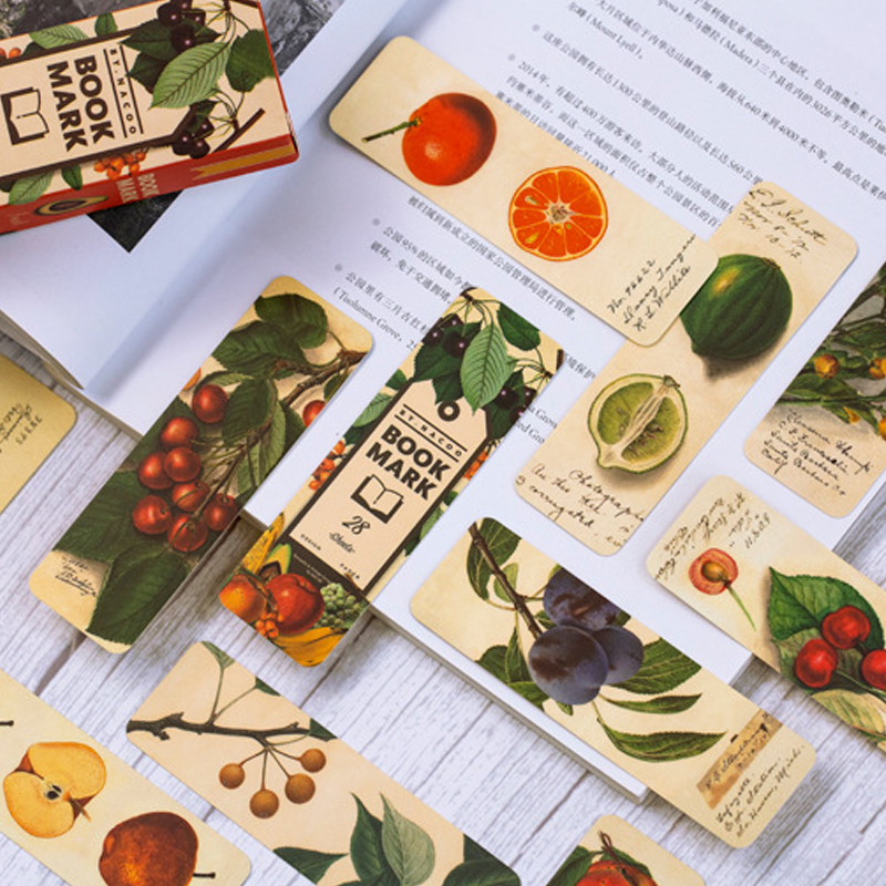 28pcs/pack Cute Girl Star Fruit Retro School Office Supply Paper Bookmark Stationery Art Four Design
