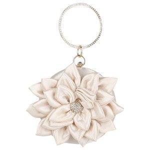 Image 5 - Fairy Style Evening Mini Bag Lotus Flower 2020 Luxury Lady Rhinestone Ring Handbag Women Girl Shoulder Party Wedding Banquet