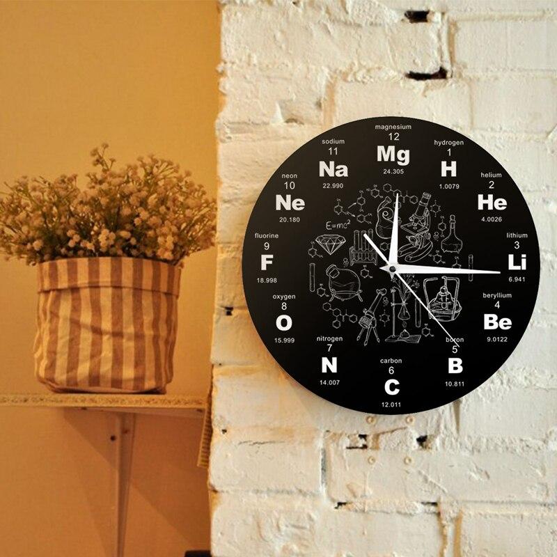 Periodic Table Of Elements Wall Art Chemical Symbols Wall Clock Educational ElementaL Display Classroom Clock Teacher's Gift Bla