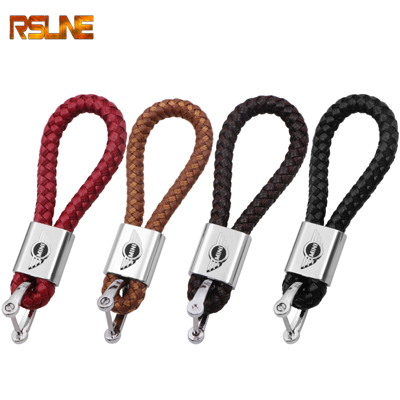 Leather Alloy Car Key Ring Keychain <font><b>Holder</b></font> Room Keyring Key Chain For BMW <font><b>Mini</b></font> Cooper 2011 2012 2013 R56 R50 R53 <font><b>F56</b></font> F55 R60 image