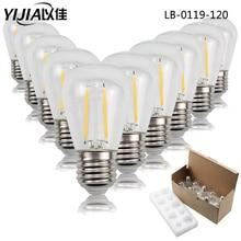 Bombilla led S14 de luz de Edison Vintage, 10 unids/pack E27 E26 220V 110V 1W 2 W, bombilla led creativa, Bombilla de filamento de ahorro de energía para el hogar