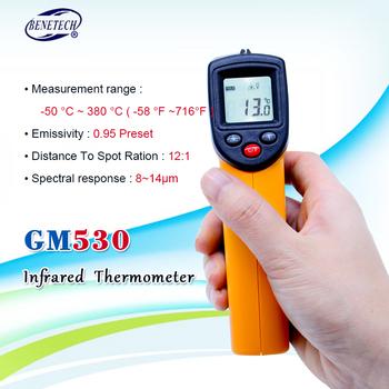 BENETECH GM530 cyfrowy termometr Mon contact laserowy miernik temperatury tester termometr na podczerwień GM530-50 ~ 530C (-58 ~ 875F) tanie i dobre opinie NoEnName_Null REGULATOR TEMPERATURY CN (pochodzenie) 49 ° C i Pod DIGITAL Przemysłowe Bateria AAA Ręczny 1 9 Cali i Pod