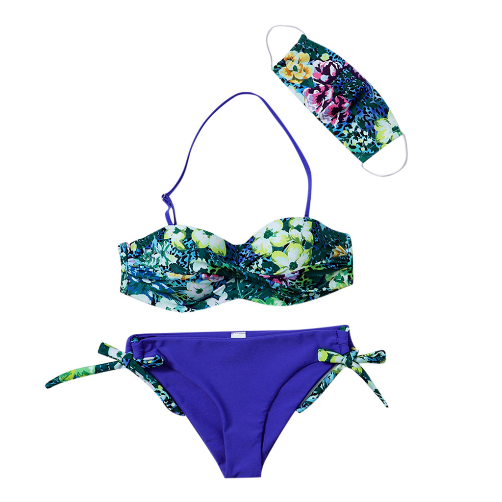 3PCS Swimwear Women Push-Up Padded Mask Swimsuit Trikini Swimwear Top Thong Bikini Set Bathing Suit Beachwear Swimming Suit 1