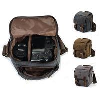 3 color Canvas Cow Leather DSLR SLR Vintage Camera Shoulder Messenger Bag Outdoor mountaineering bag