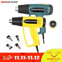 NEWACALOX 2000W 220V Spina di UE Industriale Elettrico Pistola Ad Aria Calda Termoregolatore LCD Pistole di Calore Shrink Wrapping di Riscaldamento Termico ugello